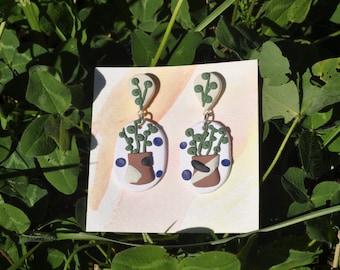 climbing plant pot polymer clay earrings - handmade vine houseplant jewelry