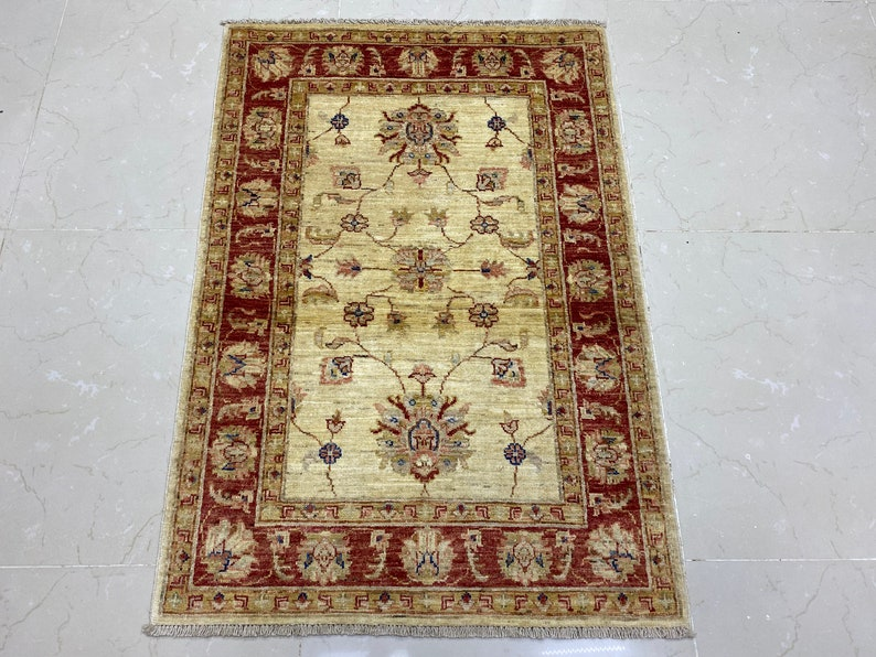 Turkish rug small rug door mat rug entry rug, Afghan handmade rug living room rug 3x4 ft area red rug afghan  rug