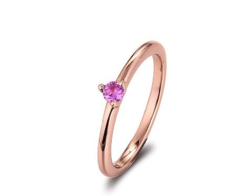 Real 925 Sterling Silver Pink Solitaire Rings for Women Wedding Engagement Ring S925