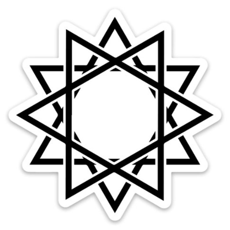 Dodecagram/Dodecagon Twelve Pointed Star Symbol Vinyl Decal Black Dodecagram