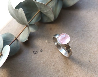 Rose Quartz Ring, Sterling Silver, Healing Crystals, Relationship Stone, Self Love Stone, Gifts for Her, Anniversary Gifts, Birthday Gifts,