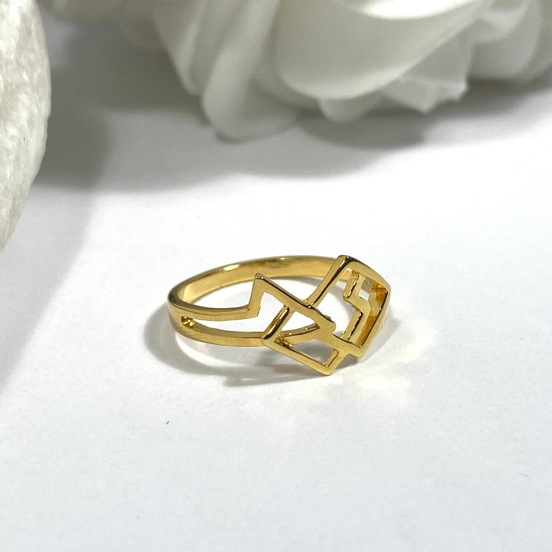 Art Deco Nickel Free Line Metric Ring Best Gift 14K Gold Plated-  Brass