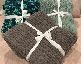 Chunky Hand Knit Blanket- Chenille
