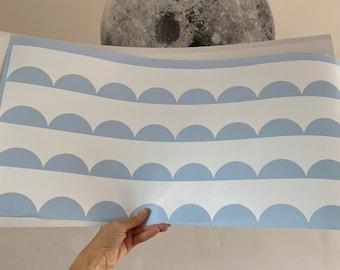 Scallop edge removable wall stencil