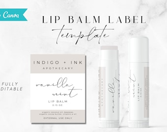 "Lip Balm Label Template, Lip Balm Packaging, Product Labels, DIY Lip Balm, Customizable Editable Cosmetic Label, Printable Lip Balm ""Andi"""