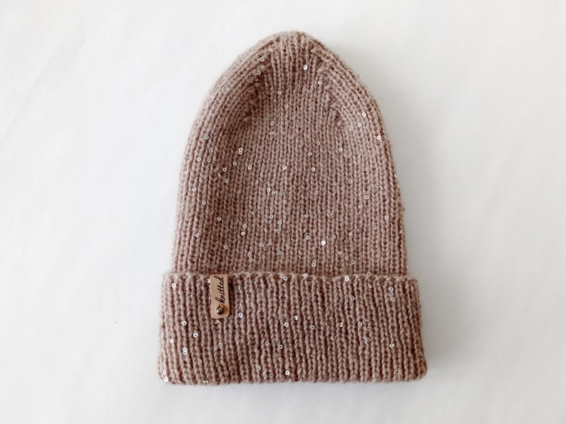 crochet angra hat hat for teenager hat for girls Knitted angora hat with sequins spring autumn womens