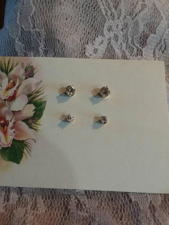 14k Diamond Stud Earrings  set of 2 pairs
