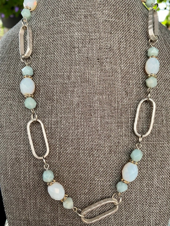 self-worth \u2022 amazonite 10mm beads necklace on a silver chain