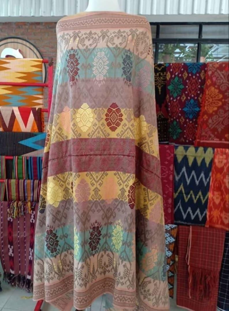 Tribal Cotton Fabric Indonesian Art Fabric Indonesian Songket Textile Lombok Handwoven Fabric Songket Lombok Textile Ceremonial Textile
