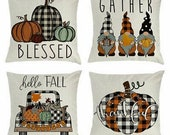 Fall Decorative Throw pillow covers. Set of 4 Autumn Throw covers decoration