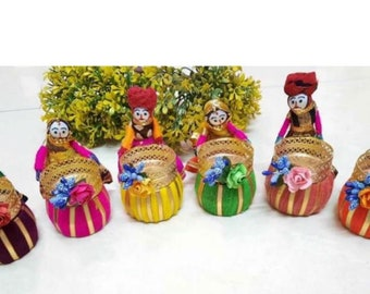 1 Pair Diwali Candle Holder, Puppets Candle Holder,Diwali Gift, Diwali Decoration, Handmade Gift, Table Top, Home Décor, Gift for Family New