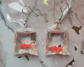 Cute Goldfish In A Bag Statement Novelty Earrings