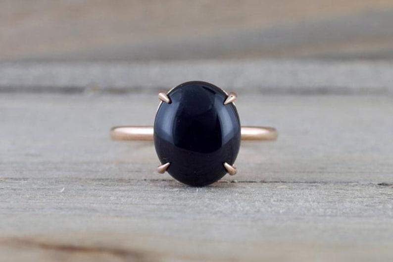 925 sterling silvergoldrose gold ring valentine gift ring Natural Black Onyx Ring wedding ring engagement ring