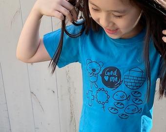 Christian Child Tee - God Loves Me (Blue)