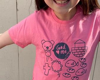Christian Child Tee - God Loves Me (Pink)