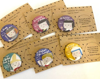Catholic Saints Set of 6 Buttons - with paper backing