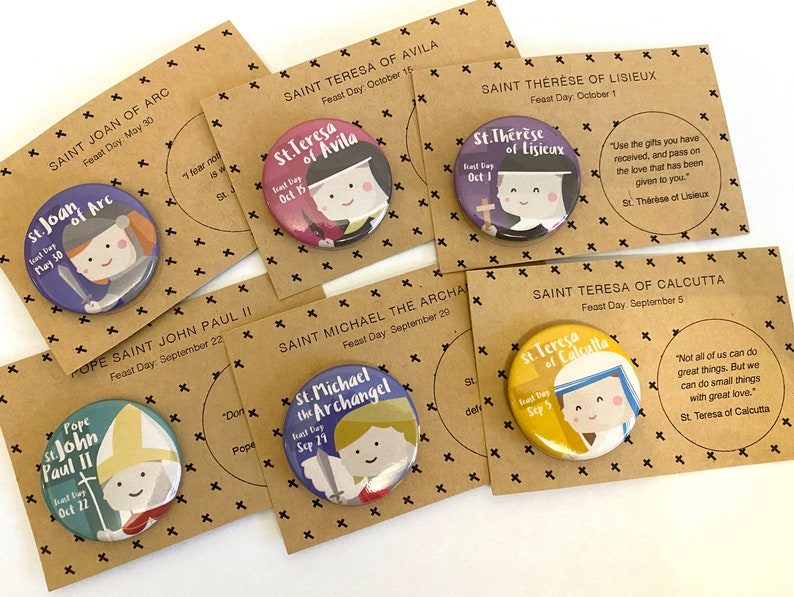 Catholic Saints Set of 6 Buttons  with paper backing image 0