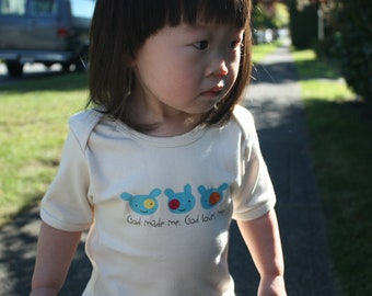 Christian Baby and Toddler Onesie and Tee -  God Made Me. God Loves Me