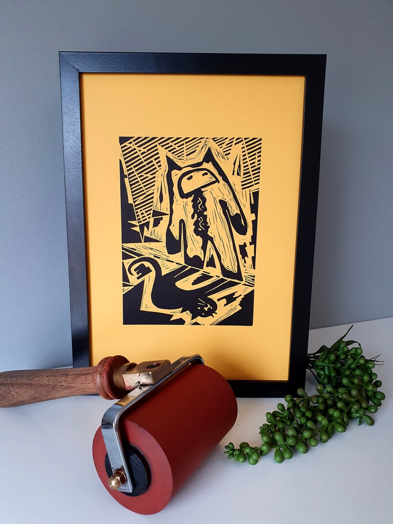 UNFRAMED- 18 x 13 cm image LIMITED EDITION I think I am a cat Cat linocut Print in yellow