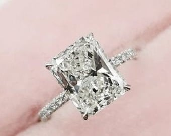 Cushion Cut Ring CZ Wedding Ring Solitaire Engagement Ring 4.50ctw Engagement Ring 14K Gold Plated Anniversary Ring -Cocktail Ring