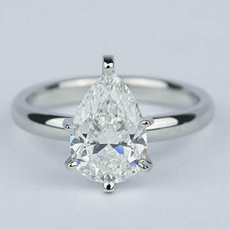 2 CT Pear Shaped Moissanite Engagement Ring Solitaire Engagement Ring Moissanite Wedding Ring Minimalist Wedding Ring 14K Gold Diamond Ring
