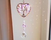 Crystal Suncatcher, Amethyst Heart Tree of Life, Rainbow Prism Ball Light Catcher, Window Deco, Car Decoration
