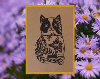 Card cat illustration linocut