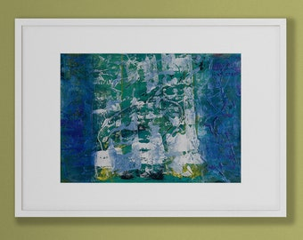 Original abstract acrylic painting. Cool blue, green and yellow layers. Modern wall hanging