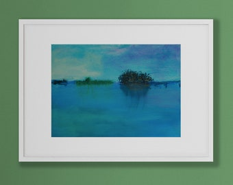 Acrylic Abstract Art, Canvas art, Reflective blue hues, water, abstract sky. Original painting, Contemporary art, Wall covering,