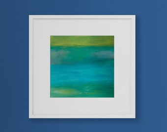 Original Acrylic Abstract Art. Joyful Tropical colors.  Small Contemporary Wall Hanging.