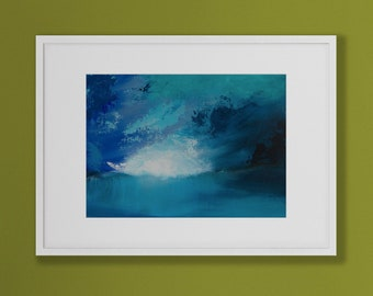 Acrylic Abstract Art. Original, Multiple blue hues, flowing patterns, Minimalist. Contemporary wall covering, wall art, Abstract Landscape