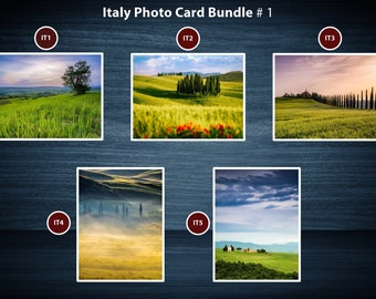 Colourful Tuscany Landscape Photo Greeting Card Packs | 5 Cards | A5 or A6 Size cards plus brown kraft envelopes | No plastic packaging.