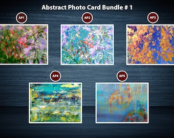 Colourful Abstract photo Greeting Card Packs | 5 Cards | A5 or A6 Size cards plus brown kraft envelopes | No plastic packaging.