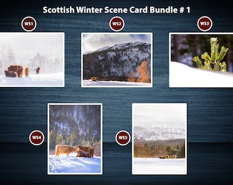 Winter Scenes for Christmas Greeting Card Packs | 5 Cards | A5 or A6 Size cards plus brown kraft envelopes | No plastic packaging.