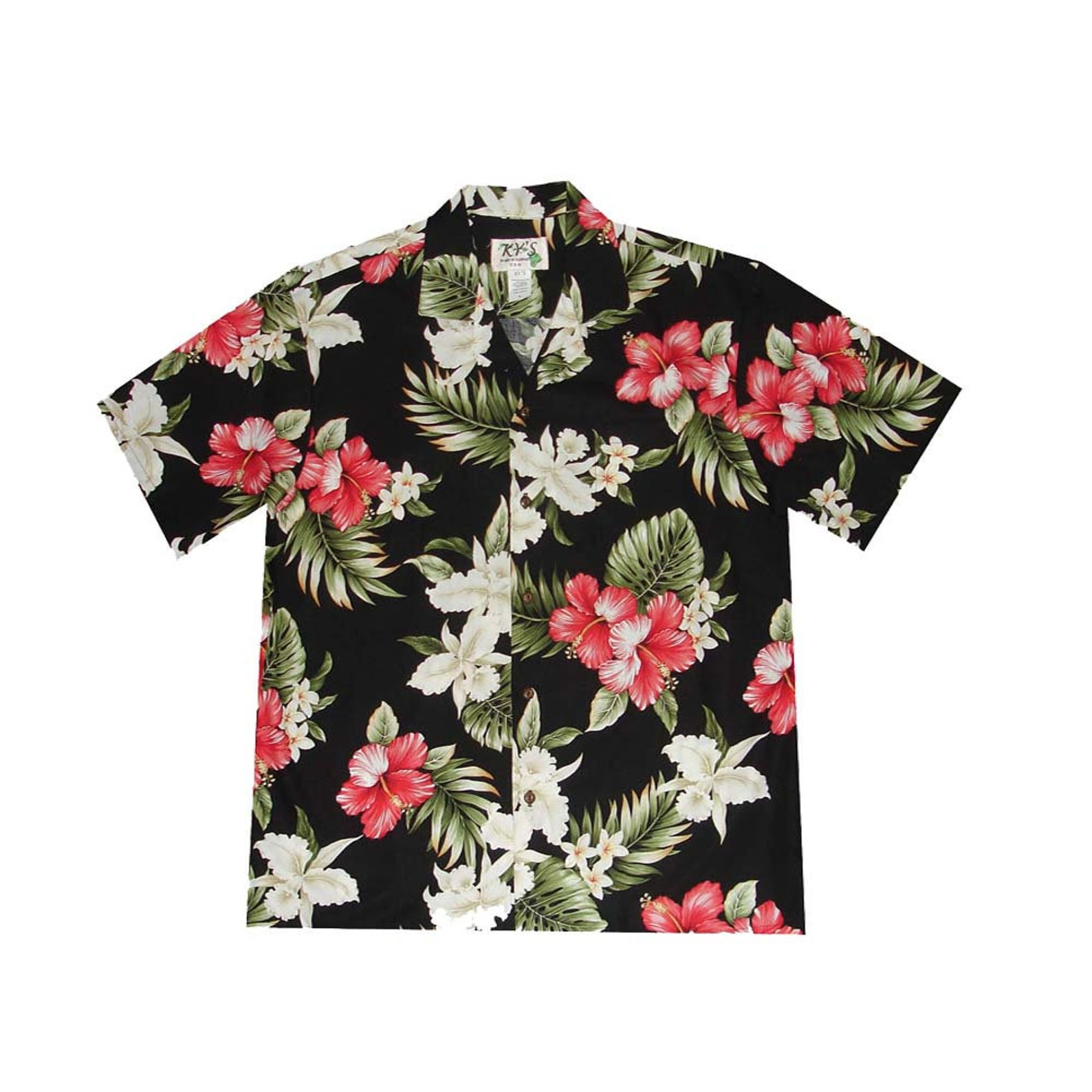 Dark blue Hawaiian shirt with a red, green and white floral design