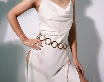 60/'s-70/'s Chain Belt Assorted Color Metal Rectangle /& Circle Costume Chain Belt