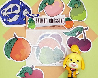 Fruit and fossil sticker set | Animal Crossing