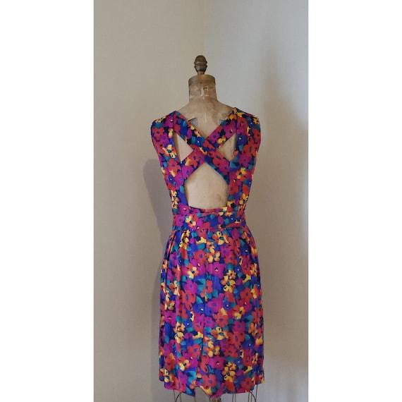 Vintage 1980's Dress - 80's Multicolor Rainbow Flo