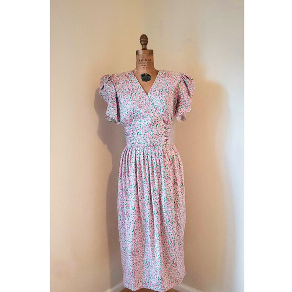 Vintage 1980's Dress - 80's does 40's Tulip Sleeve