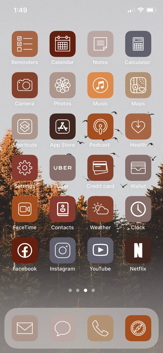 fall 48 app pack aesthetic iphone ios14 app icons etsy fall 48 app pack aesthetic iphone ios14 app icons