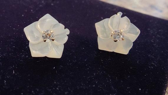 Flower Diamond Stud Earrings - image 2