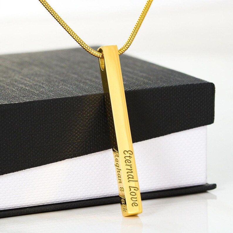 Name Necklace Valentines Day Gift Birthday Gift for Her Custom 4 Sided 3d Bar Necklace Engraved Vertical Bar Necklace Engraved Necklace