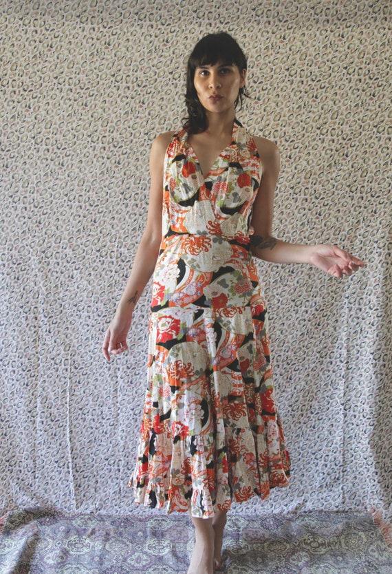 1970s Floral-Oriental Halter Neck Dress