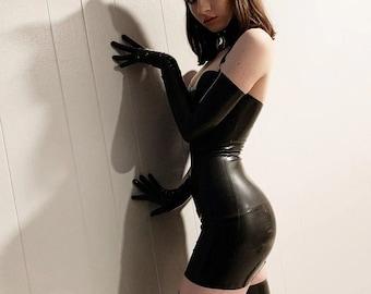 Women's PU Leather, Backless & Long Sleeve Gloves Decorated, Sexy Bodycon Mini Dress / Gothicwear / Ravewear / Punkwear / Harajuku
