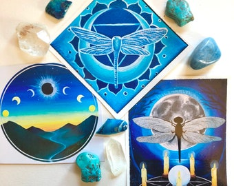Dragonfly Moon Stickers (3-Pack)
