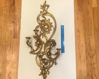 Extra Large Vintage Dart Homco Syroco Hollywood Regency Mid Century Ornate Gold Sconce Candle Holders