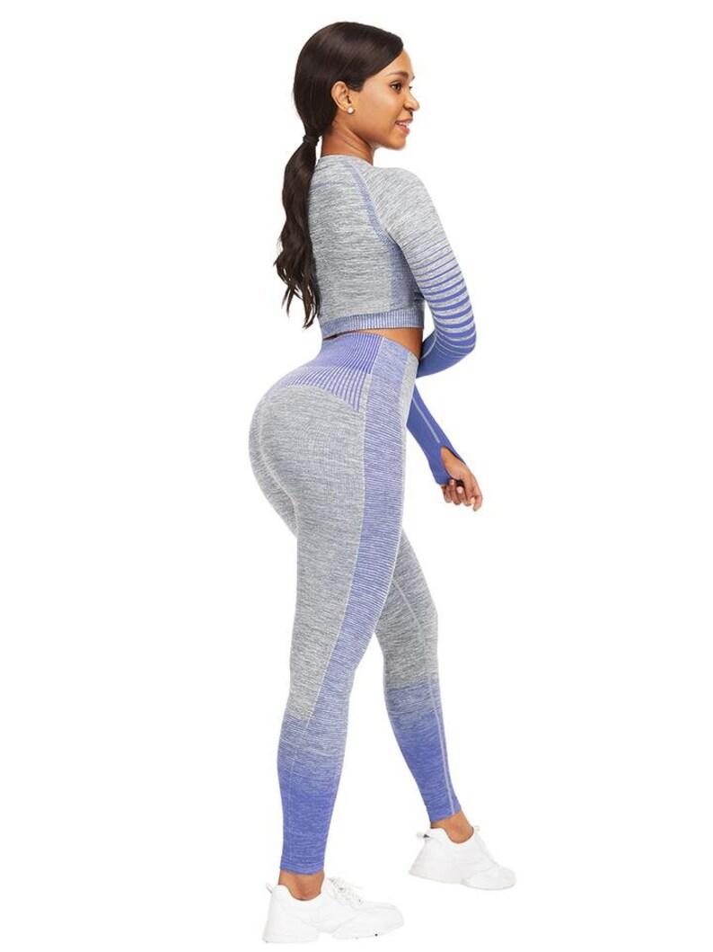 Body Blue Long Sleeve Thumbhole Crop Top Full Length Leggings Exercise Outfit