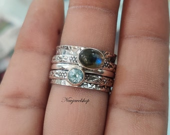 925 Sterling Silver Ring for Women Meditation Fidget Ring Swiss Blue Topaz Spinner Ring Wide Band Two Tone Ring Worry Hammered Ring