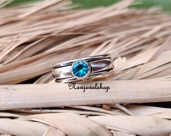 silver meditation ring texture designer ring silver ring Blue topaz gemstone ring spinner ring,fidget spinning ring,Anxiety worry ring
