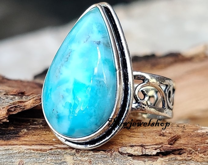 Emotional Ring 925 Sterling Silver Ring Handmade Ring Larimar Jewelry Meditation Ring Larimar Ring Beatiful Ring Anxiety Ring